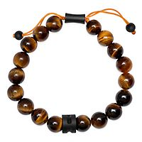 Brown Tiger Eye Bead Bolo Bracelet in Sterling Silver