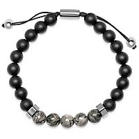 Onyx & Agate Bead Bolo Bracelet in Sterling Silver