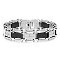 Men's 1/4 ct. tw. Diamond Cross Bracelet in Stainless Steel