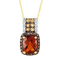 Citrine, Brown Quartz & Diamond Pendant in 10K Yellow Gold