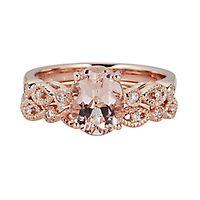 Shades of Love™ Morganite & 1/10 ct. tw. Diamond Engagement Ring Set in 14K Rose Gold