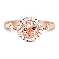 Morganite & 1/4 ct. tw. Diamond Ring in 10K Rose Gold