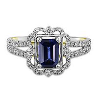 TRULY™ Zac Posen Sapphire & 3/4 ct. tw. Diamond Engagement Ring in 14K White Gold