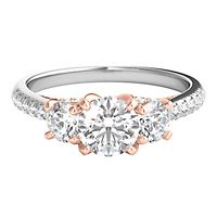 Radiant Star® 1 1/2 ct. tw. Diamond Three-Stone Engagement Ring in 14K White & Rose Gold