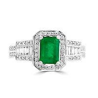 EFFY® Emerald & 3/8 ct. tw. Diamond Ring in 14K Yellow Gold