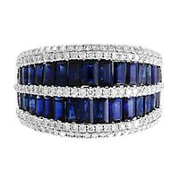 EFFY® Sapphire & 5/8 ct. tw. Diamond Ring in 14K White Gold