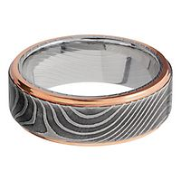 Lashbrook® Men's Swirl Band in Damascus Steel & 14K Rose Gold
