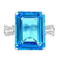 EFFY® Blue Topaz & 1/3 ct. tw. Diamond Ring in 14K White Gold