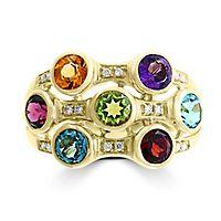 EFFY® Multi-Gemstone & Diamond Ring in 14K Yellow Gold
