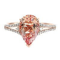 EFFY® Morganite & 1/5 ct. tw. Diamond Ring in 14K Rose Gold