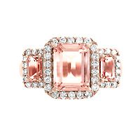 EFFY® Morganite & 3/8 ct. tw. Diamond Ring in 14K Rose Gold