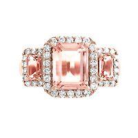 EFFY® Morganite & 3/8 ct. tw. Diamond Ring in 14K Rose Gold