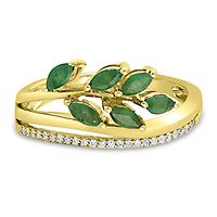 Emerald & Diamond Leaf Ring in 10K Yellow Gold