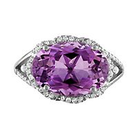 Amethyst & Lab-Created White Sapphire Cocktail Ring in Sterling Silver