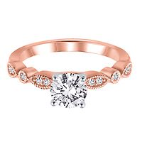 Diamond Semi-Mount Engagement Ring in 14K Rose Gold