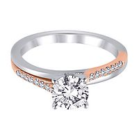 1/10 ct. tw. Diamond Semi-Mount Engagement Ring in 14K White & Rose Gold