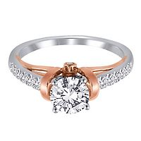 1/4 ct. tw. Diamond Semi-Mount Engagement Ring in 14K White & Rose Gold