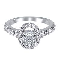 3/4 ct. tw. Diamond Halo Semi-Mount Engagement Ring in 14K White Gold