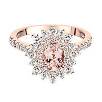 Shades of Love™ Morganite & 3/4 ct. tw. Diamond Ring in 14K Rose Gold