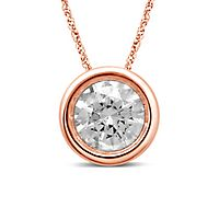 1/4 ct. tw. Diamond Bezel Pendant in 10K Rose Gold