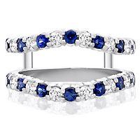 Sapphire & 3/8 ct. tw. Diamond Ring Enhancer in 14K White Gold