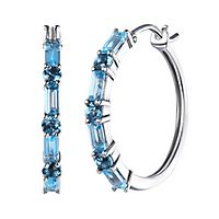 London & Swiss Blue Topaz Hoop Earrings in 10K White Gold