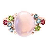 Pink Quartz, Peridot, Tourmaline, Blue Topaz & White Sapphire Ring in 14K Rose Gold