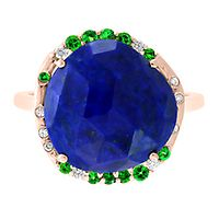 Lapis Lazuli, Garnet & 1/10 ct. tw. Diamond Ring in 14K Yellow Gold