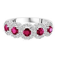 Ruby & 1/3 ct. tw. Diamond Ring in 14K White Gold