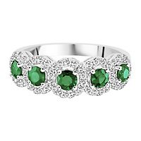 Emerald & 1/3 ct. tw. Diamond Ring in 14K White Gold