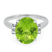 Peridot & 1/8 ct. tw. Diamond Ring in 10K White Gold
