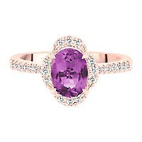 Amethyst & 1/5 ct. tw. Diamond Ring in 10K Rose Gold
