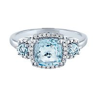 Aquamarine & 1/8 ct. tw. Diamond Three-Stone Ring in 10K White Gold