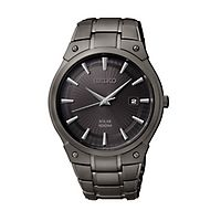 Seiko® Essentials Black Solar Men's Watch