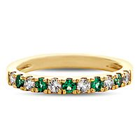 Emerald & 1/4 ct. tw. Diamond Band in 10K Yellow Gold
