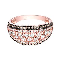 1 ct. tw. White & Champagne Diamond Ring in 10K Rose Gold