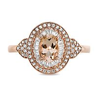 Morganite & 1/2 ct. tw. Diamond Ring in 10K Rose Gold