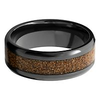 Lashbrook® Men's Band in Black Zirconium & Dinosaur Bone, 8MM