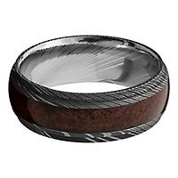 Lashbrook® Men's Band in Damascus Steel & Dinosaur Bone, 8MM