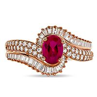 Ruby & 1/2 ct. tw. Diamond Ring in 10K Rose Gold