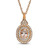 Morganite & 1/4 ct. tw. Diamond Pendant in 10K Rose Gold