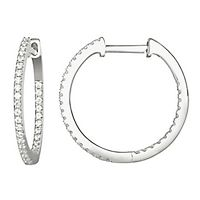 1/4 ct. tw. Diamond Hoop Earrings in 10K White Gold