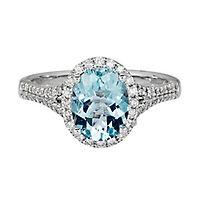 Shades of Love™ Aquamarine, Sapphire & 1/3 ct. tw. Diamond Engagement Ring in 14K White Gold