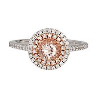 Shades of Love™ Morganite & 1/3 ct. tw. Diamond Engagement Ring in 14K White & Rose Gold