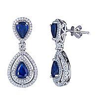 Sapphire & 5/8 ct. tw. Diamond Earrings in 14K White Gold