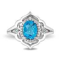 Enchanted Disney Jasmine Blue Topaz & 1/10 ct. tw. Diamond Ring in Sterling Silver