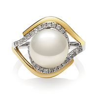 Freshwater Cultured Pearl & 3/8 ct. tw. Diamond Ring in 14K White & Yellow Gold