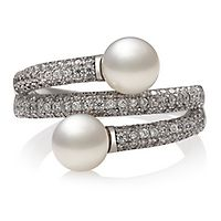 Freshwater Cultured Pearl & Lab-Created White Sapphire Wrap Ring in Sterling Silver