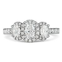 Radiant Star® 1 3/8 ct. tw. Diamond Three-Stone Engagement Ring in 14K White Gold