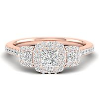 1 ct. tw. Diamond Three-Stone Engagement Ring in 14K Rose Gold